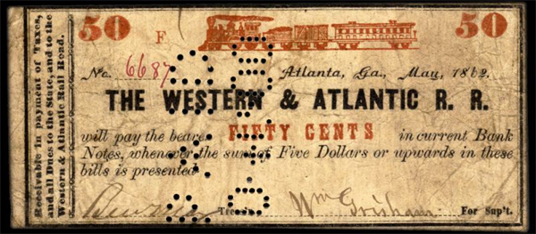 25-cent note scrip June 2 1862 Western & Atlantic Rail Road