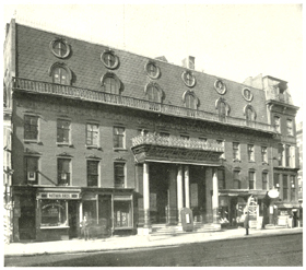 Only known photograph of Wood's Theatre at 514 Broadway