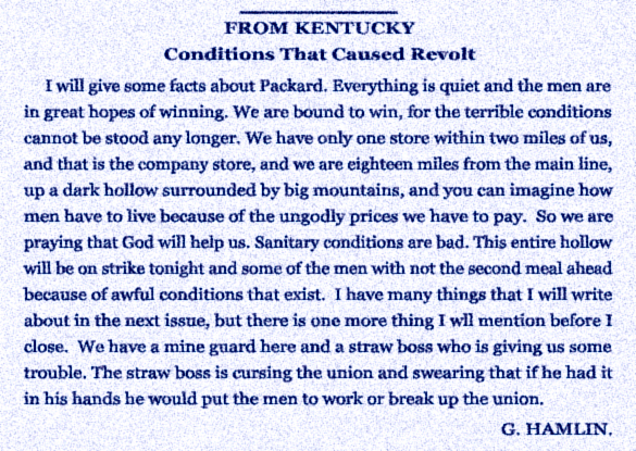 Packard Kentucky Coal Camp Town Labor Conditions G. Hamlin United Mine Workers Journal