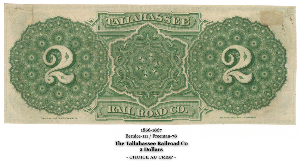Bernice-111, Freeman-78, The Tallahassee Railroad Co, Back, 2 Dollars