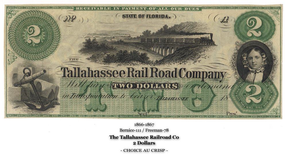 Bernice-111, Freeman-78, The Tallahassee Railroad Co, Face, 2 Dollars