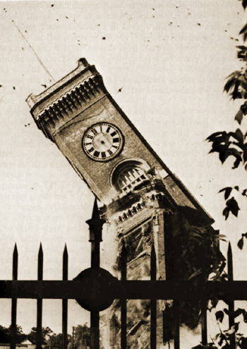 Elgin clock tower being raised in 1966