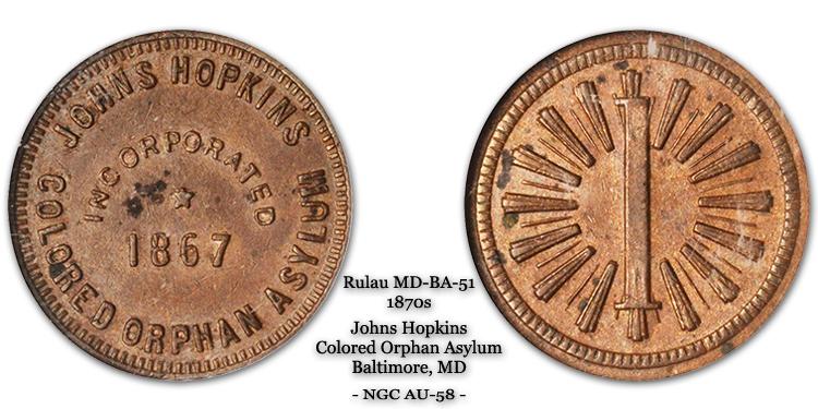 Rulau Md-Ba-51 Johns Hopkins Colored Orphan Asylum 1-cent Dorman