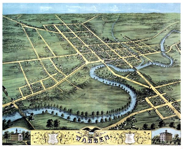 Bird's eye view of Warren, Trumbull County, Ohio 1870