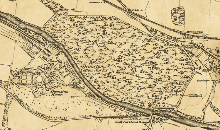 19th Century Map of Deanston Cotton Works and Vicinity