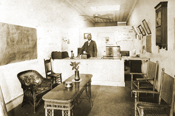 Frank Butler at his real estate office.