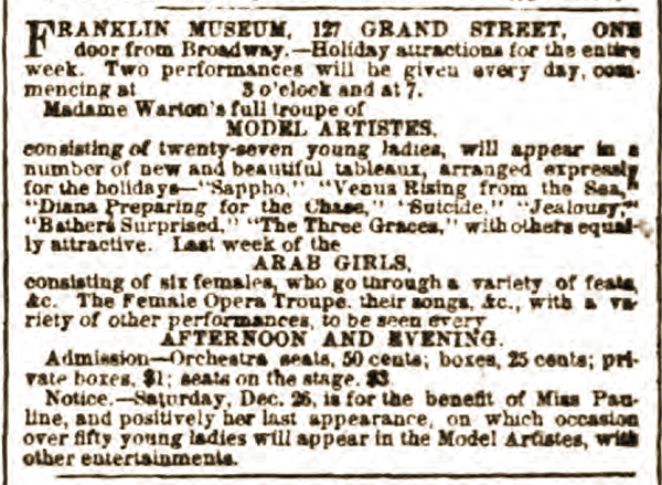 Franklin Museum, Model Artistes, Arab Girls, Afternoon and Evening, New York Herald