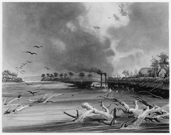Snags (Sunken Trees on the Missouri), Karl Bodmer c.1841