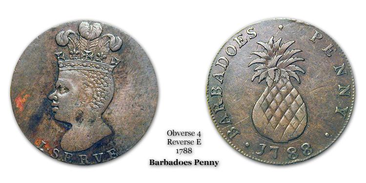 1788 Barbadoes Penny Obverse 4 Reverse E