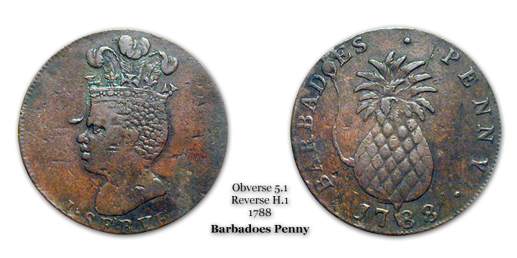 1788 Barbadoes Penny Obverse 5.1 Reverse H.1