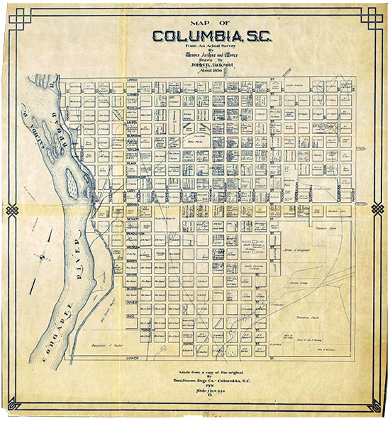 1850 Map of Columbia, South Carolina. Click to view large image.
