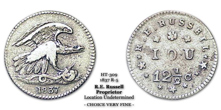 HT-309 R.E. Russel Hard Times Token