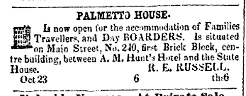 Palmetto House Boarding House, R.E. Russell