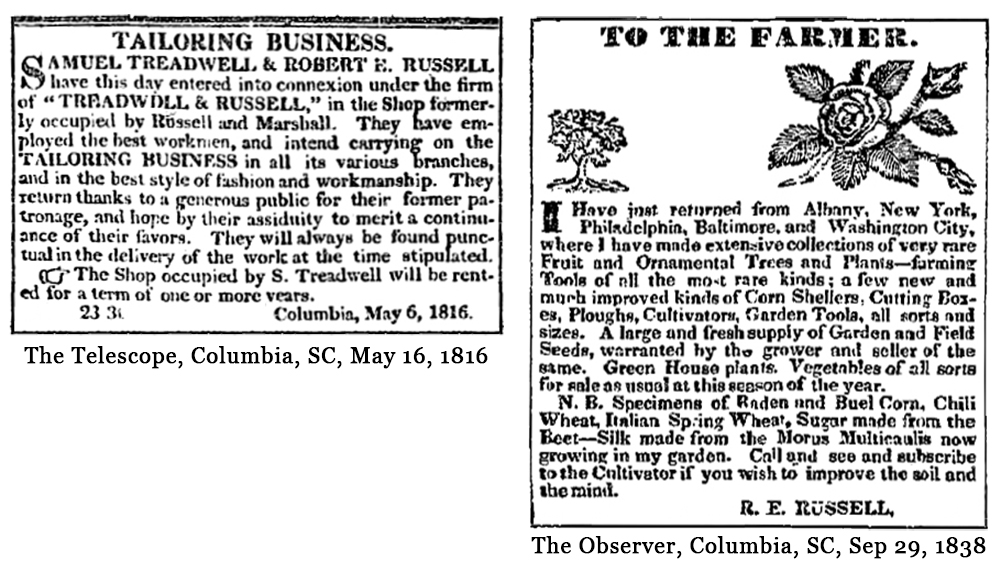 Tailoring Business, and, To The Farmer, R.E. Russell