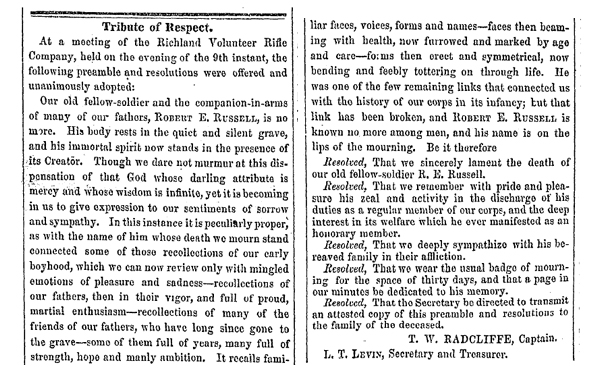 Tribute of Respect, The Daily South Carolinian, Columbia SC, Tuesday March 14, 1854, Issue 161