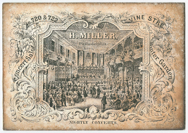 Illustrated trade card depicting the crowded interior of Henry Miller's concert hall, winter garden and hotel. Circa 1860s-70s