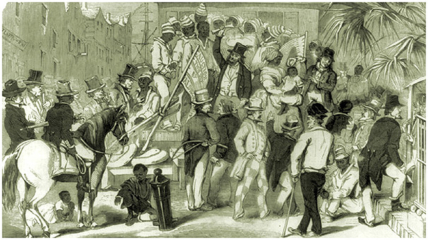 Slave Sale, Charleston South Carolina, Sketch by Eyre Crowe